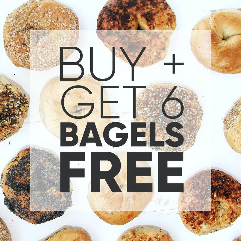 NY Bagel Dozen with Cream Cheese + 6 More Bagels FREE