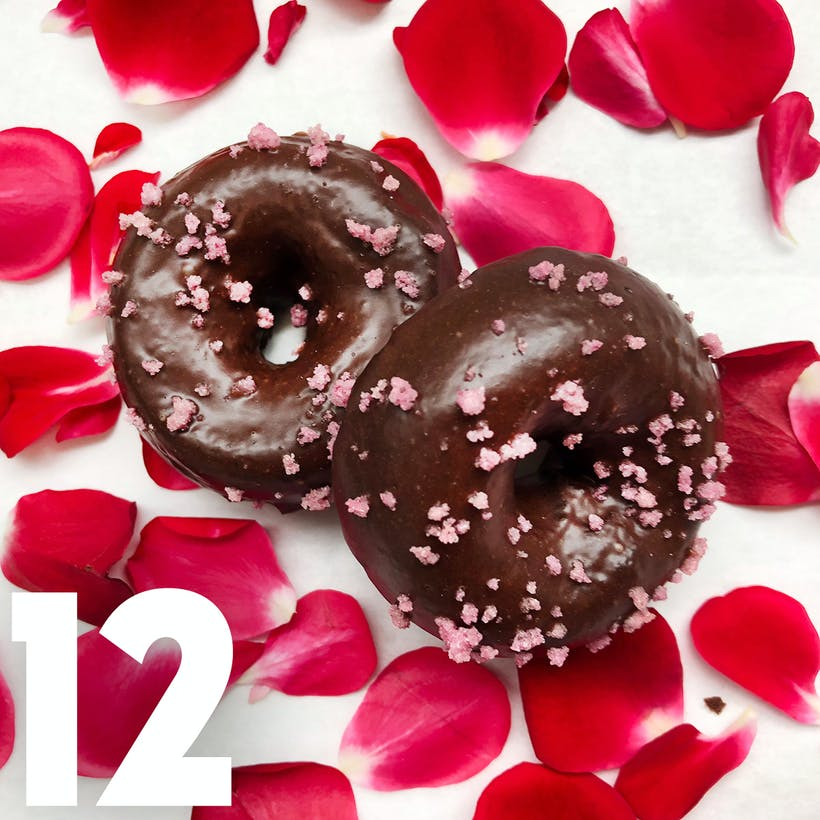 Mini Valrhona Rose Cake Doughnuts - 12 Pack